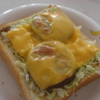 食パンで、チーズバーガー風