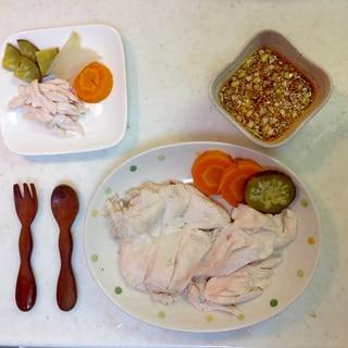 取り分け! 炊飯器で野菜と鶏ハムねぎダレで美味しく