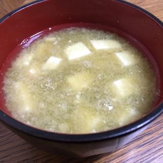 簡単!とろろこんぶと豆腐の味噌汁♬