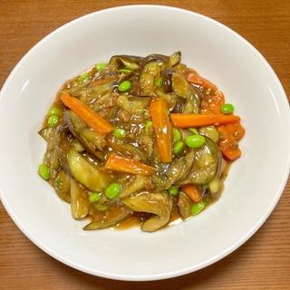 ナスと枝豆の麻婆豆腐の素炒め