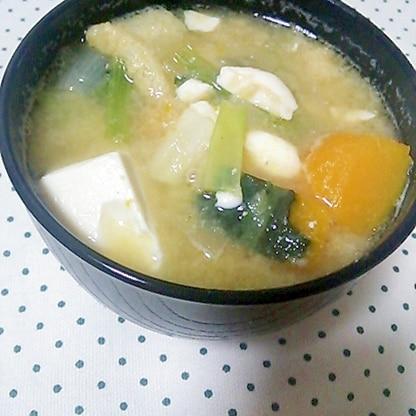 小松菜とかぼちゃの具だくさん味噌汁