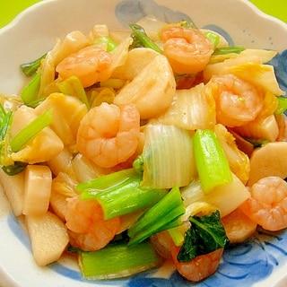 長芋と白菜小松菜エビの中華炒め