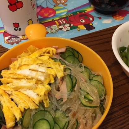 きゅうりの切り方を違ってしまいました。卵を入れると彩りもきれいで美味しくいただきました。