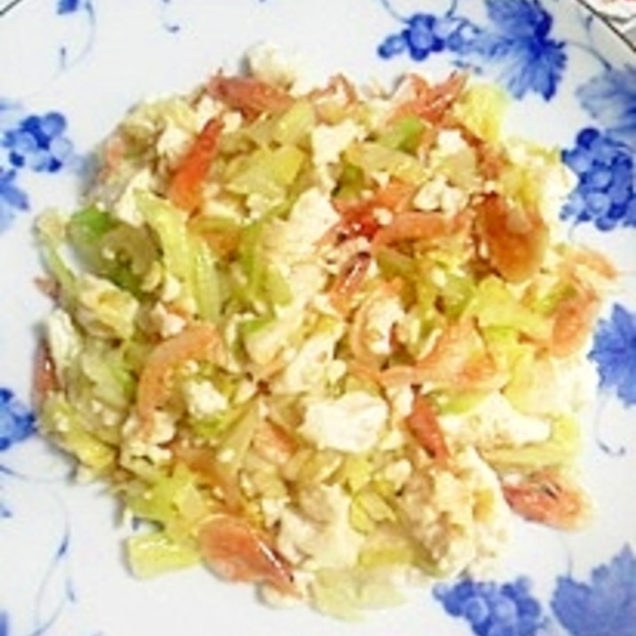 桜咲く、桜えびと塩とうふの炒め物