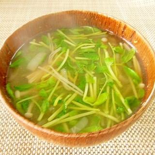 豆苗とエノキのお味噌汁♪