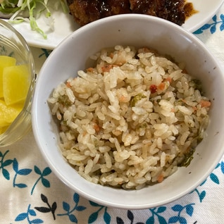鮭茶漬けの素で炊き込みご飯