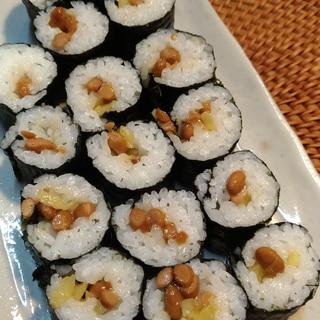 白飯で作る☆たくあん納豆巻き