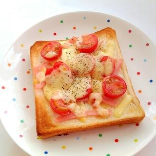 ミニトマトとハムのチーズトースト
