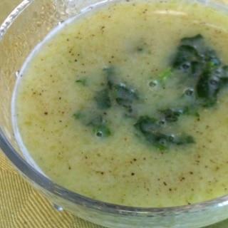 茎を捨てないで★モロヘイヤの冷たいスープ