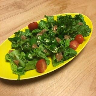 時短で簡単!レタスとおくらのさっぱりポン酢サラダ