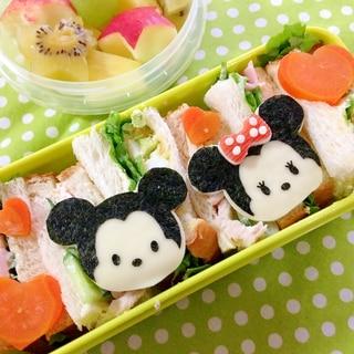 簡単キャラ弁☆ミッキー&ミニー ツムツムのお弁当♪