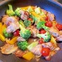 鶏もも肉と彩り野菜の炒め物~♪