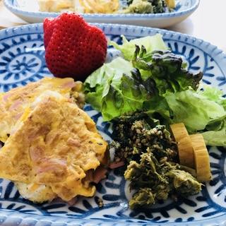 お昼ごはん☆ハム入り和風オムレツ