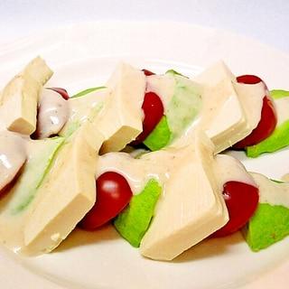 アボカドとトマトと豆腐のヨーグルトドレッシングかけ