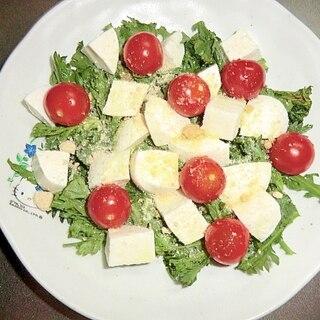 春菊とモッツァレラチーズとトマトのサラダ