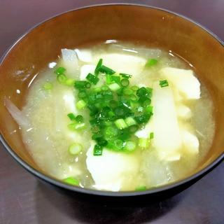 くずし豆腐と大根のあったか味噌汁