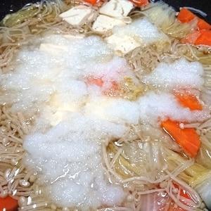 ポカポカ温まる!野菜たっぷりみぞれ鍋
