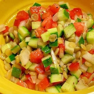 ピリ辛さっぱり☆レンズ豆のサルサ風サラダ