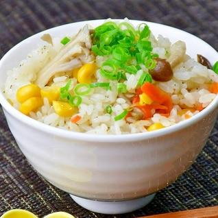 【真鯛のだし塩】deきのことコーンの炊き込みご飯✿