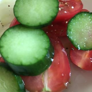 オリジナルドレッシング+きゅうりとトマトのサラダ♪