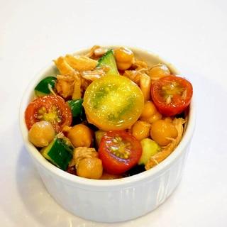 副菜におすすめ!ひよこ豆とトマトのツナサラダ