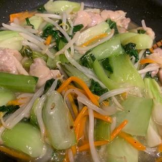 鶏肉とちんげん菜の塩炒め
