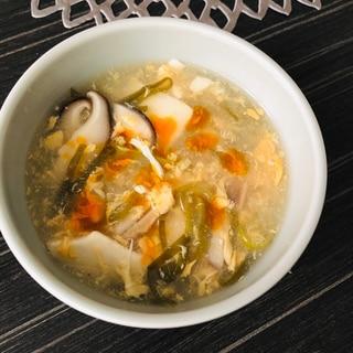 豆腐と干し椎茸の酸辣湯風スープ