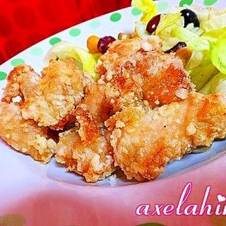 桜の塩漬けで 春の香りの鶏むね肉の唐揚げ