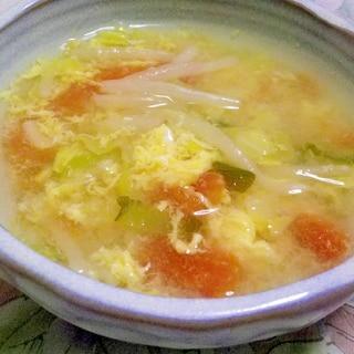 トマトとキャベツともやしの玉子スープ