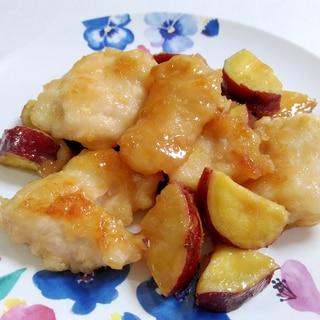 ご飯がすすむ☆鶏肉とさつまいもの照りマヨ炒め