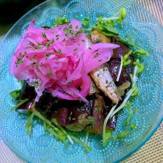 燻製オイルサーディンと茄子のサラダ