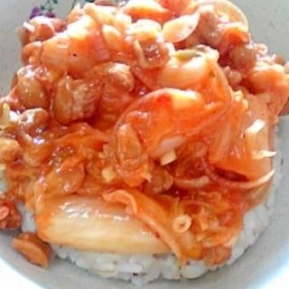 納豆の食べ方-キムチ&ミョウガ♪
