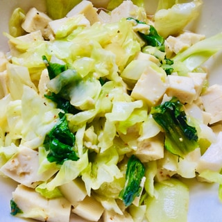 キャベツとチンゲンサイと豆腐の温サラダ