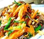 ハムと千切り野菜の中華炒め
