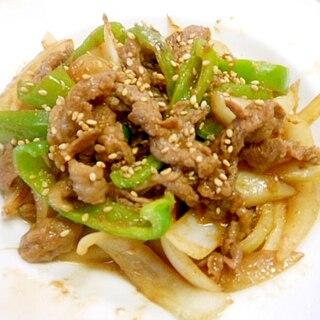 新玉葱と牛薄切り肉で焼き肉のたれ炒め