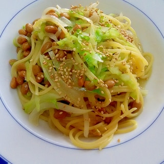 和風納豆キャベツパスタ++