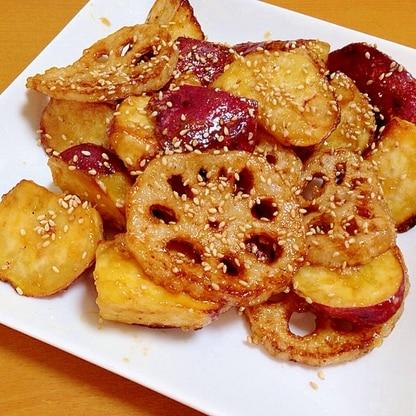 レンコンとサツマイモの甘じょっぱ炒め(・o・)