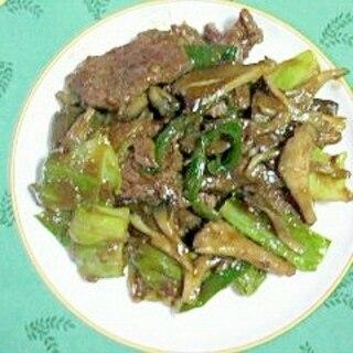 牛バラカルビとキャベツのオイスター炒め~♪
