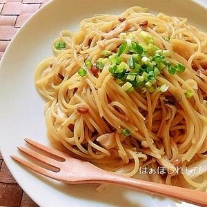 フライパン一つで!きのこと納豆のスパゲティー