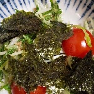 水菜とトマトの簡単サラダ