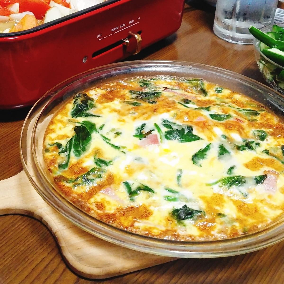 簡単 ほうれん草とベーコンのパイなしキッシュ レシピ 作り方 By Murano Kumasan 楽天レシピ