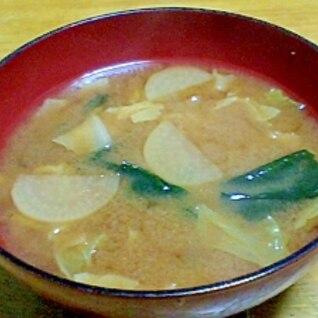 大根と白菜とわかめのお味噌汁
