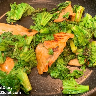 豚とわさび菜の生姜焼き