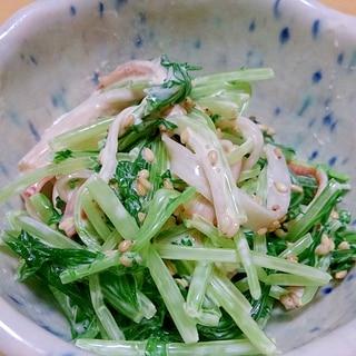 水菜とカニカマのゴママヨネーズ和え