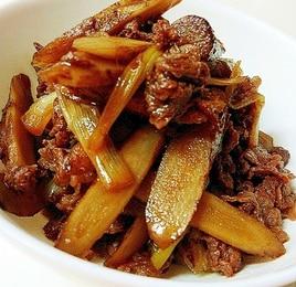 牛肉とごぼうとねぎの甘辛炒め