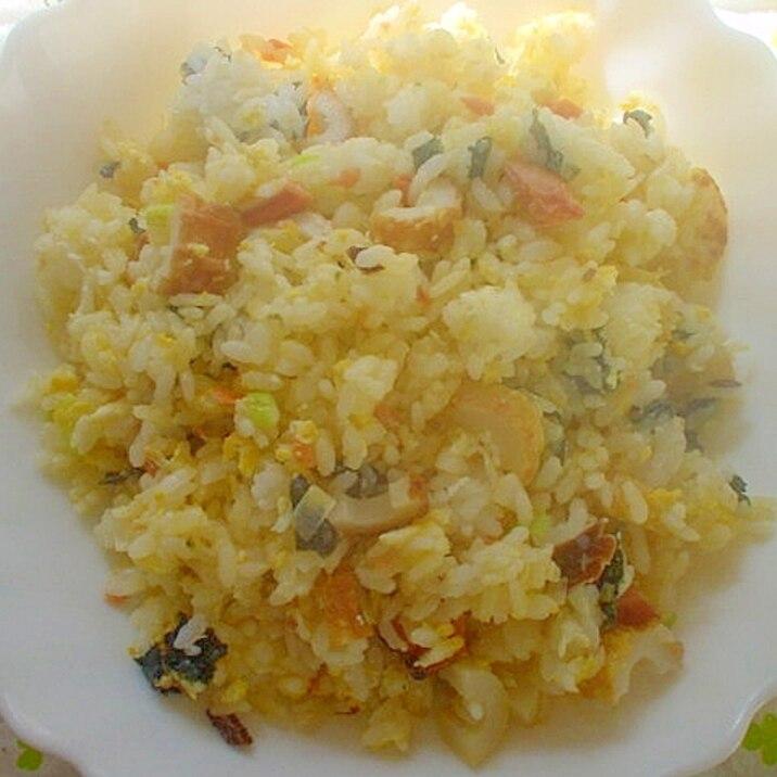 マヨ&生姜で❤竹輪&鮭&海苔&卵炒飯~☆