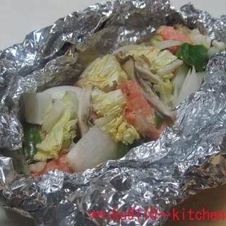 鮭とタップリ野菜のホイル蒸し焼き