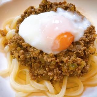 子供も食べれる辛くない肉味噌♩温玉のせ肉味噌うどん