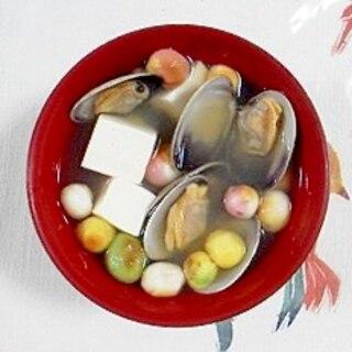あさりと塩とうふ、豆麩のお味噌汁