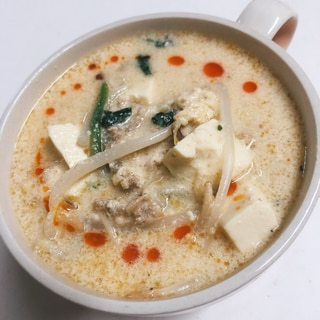 胡麻ドレで♪もやしの豆乳坦々スープ